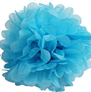 "16"" Tissue Paper Pom Pom - Available in 4 Colors: White, Sky Blue, Orange and Ivory"