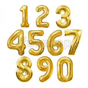 "16"" Foil Number Balloons- Golden (Digits 0 - 9) - Funzoop"