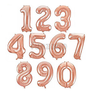 "16"" Foil Number Balloons- Rose Gold (Digits 0 - 9) - Funzoop"