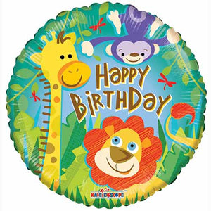 Birthday Jungle Friends Foil Balloon - Funzoop