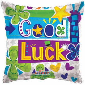 "18"" Good Luck Square Helium Balloon - Funzoop"