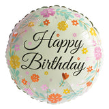 Floral Theme Happy Birthday Foil Balloon - Funzoop