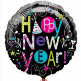 "18"" Celebrations Black Happy New Year Printed Foil Balloon - Funzoop"
