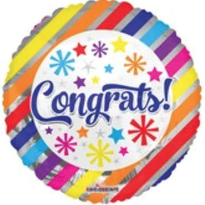 "18"" Congrats Multi-color Lines Foil Balloon - Funzoop"