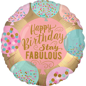 "18"" Stay Fabulous Happy Birthday Foil Balloon - Funzoop"