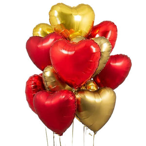 "18"" Heart Shaped Solid Color Foil Balloon Bunch - Funzoop"