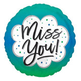 "18"" MISS YOU Green Foil Balloon (Helium Inflated)"