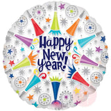 "18"" Celebrations White Happy New Year Printed Foil Balloon - Funzoop"