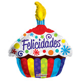 "18"" Congratulations (Felicidades) Cake-Shaped Foil Balloon [Helium Inflated] - Funzoop The Party Shop"