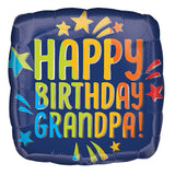 "18"" Happy Birthday GRANDPA Blue Foil Balloon (Helium Inflated)"