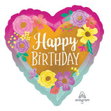 "18"" Happy Birthday PAINTED FLOWERS Heart Shaped Foil Balloon"