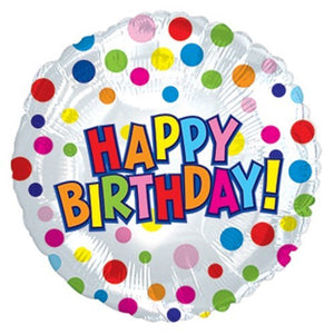 Polka Dots Happy Birthday Foil Balloon - Funzoop