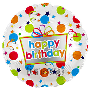 "18"" Polka Presents Happy Birthday Foil Balloon - Funzoop"
