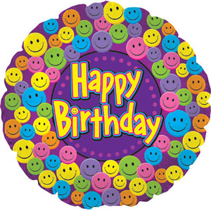 Smiley Happy Birthday Foil Balloon - Funzoop