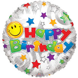 Smiley Stars Happy Birthday Foil Balloon - Funzoop