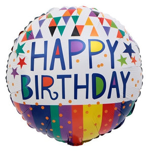 Stripes Celebrations Happy Birthday Foil Balloon - Funzoop