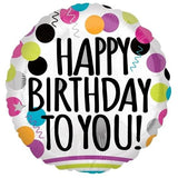 Happy Birthday to You Polka Happy Birthday Foil Balloon - Funzoop