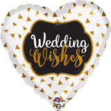 Wedding Wishes Foil Balloons [Helium Inflated] Heart Shaped Golden Confetti - Funzoop The Party Shop