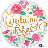 Wedding Wishes Foil Balloons [Helium Inflated] Heart Shaped Pink Flowers - Funzoop The Party Shop