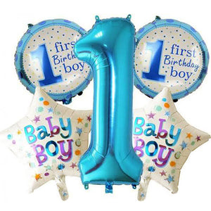 1st Birthday Foil Balloons Bouquet Set - Boy - Funzoop