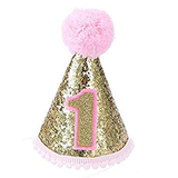 Infant Baby Shiny 1st Birthday Cone Hat - Girl