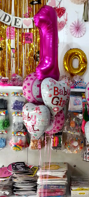 1st Birthday Foil Balloons Bouquet Set for Girl  (Inflated) - Funzoop The Party Shop