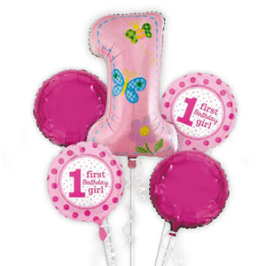 1st Birthday Girl Celebration 5 in 1 Foil Balloons Bouquet Set [5 Pcs] - Funzoop