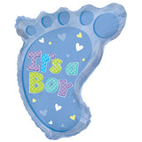 "22"" Baby Foot Shaped Foil Balloon for New Born Boy Arrival - Funzoop"
