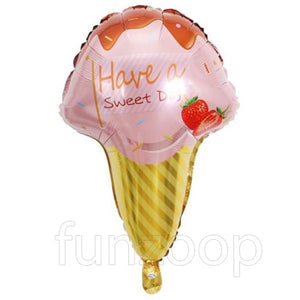 "25"" Ice Cream Cone Shaped Foil Balloon Pink - Funzoop"
