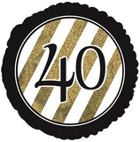 "18"" Black & Gold Glitter Foil Balloon (40th Milestone) - Funzoop"