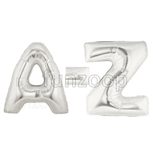 "40"" Large Foil Alphabet Balloons- Silver - Funzoop"