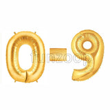 "40"" Large Foil Number Balloons- Golden - Funzoop"