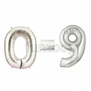 "40"" Large Foil Number Balloons- Silver - Funzoop"