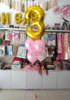 "40"" Large Milestone Number Foil with Metallic Latex Balloons Bouquet (BQ05) - Number Three Golkden - Funzoop The Party Shop"