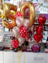 Milestone Number Balloons Bouquet with Foil Hearts Bunch (BQ09)