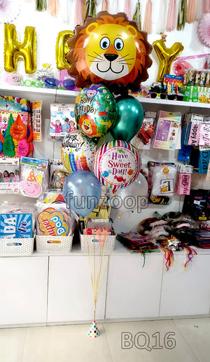 Jumbo Lion Jungle Theme Happy Birthday Helium Balloons Bouquet (BQ16)  - Funzoop