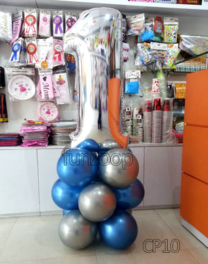 1st Birthday Large Number Foil Balloon Centerpiece [CP10] - Funzoop