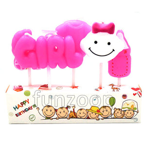 New Born Objects Smiley Candle Set Girl - Funzoop