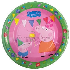 Peppa Pig Theme Paper Plates - Funzoop