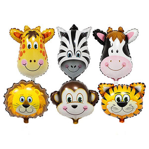 Animal Face Jungle Theme Foil Balloons - Giraffe, Zebra, Cow, Lion, Monkey and Tiger  - Funzoop The Party Shop