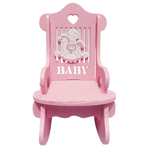Wooden Baby Chair Showpiece Pink [1 Nos] Pink - Funzoop