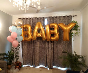 BABY SHOWER DECOR WITH LARGE HELIUM B-A-B-Y FOIL LETTERS & BALLOONS BUNCH GOLDEN - Funzoop The Party Shop