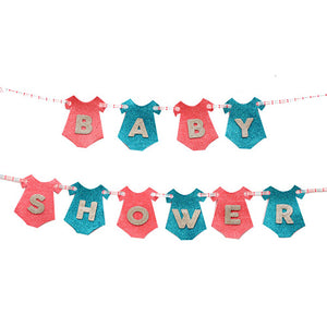 Baby Shower Dress Glitter Banner - Funzoop The Party Shop