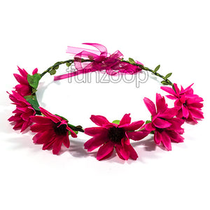 Beautiful Hawaiian Flowers Crown Headband Women/Girls Dark Pink - Funzoop The Party Shop
