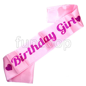 Birthday Girl Glitter Sash - Pink - Funzoop