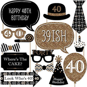 Birthday Golden Glitter Party Props [20 Nos] for 40th Birthday - Funzoop