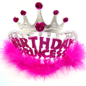 Birthday Princess Crown/Tiara With Fur - Funzoop
