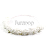 Bloomy Rose Flowers Crown Headband Women/Girls [White] - Funzoop The Party Shop