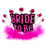 Bride To Be Crown/Tiara With Fur - Funzoop