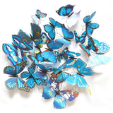 Decorative PVC 3D Magnetic Butterfly Set [12 Pcs] Blue - Funzoop